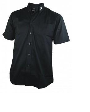Arbeitshemd, schwarz, Kurzarm, mit aufgesticktem Emblem