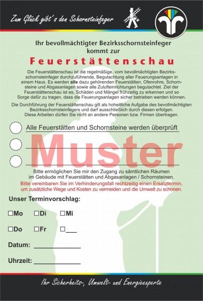 """AZ """"Feuerstättenschau"""" - DIN A6, ZIV-Logo, mit Streifengummierung"""