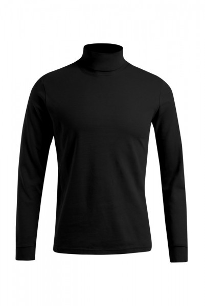 Langarm Rollkragen T-Shirt, 100 % Baumwolle, schwarz
