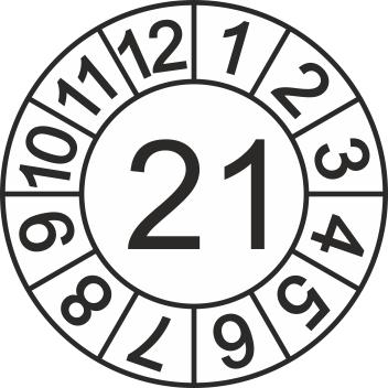 Jahreszahl-Etiketten (1000 Stk.), Jahr 2021