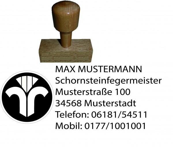 Holzstempel mit Wappen, rechteckig