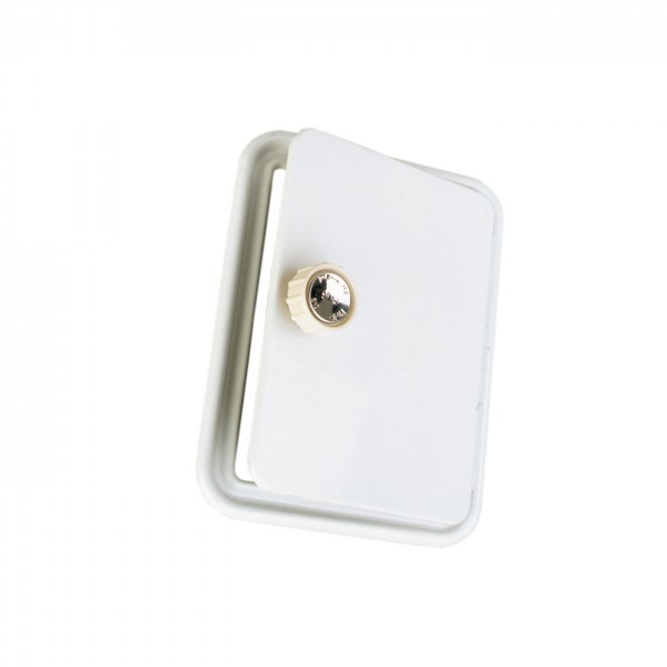 Weiße Kamintür mit Drehknopf, 14x20 cm