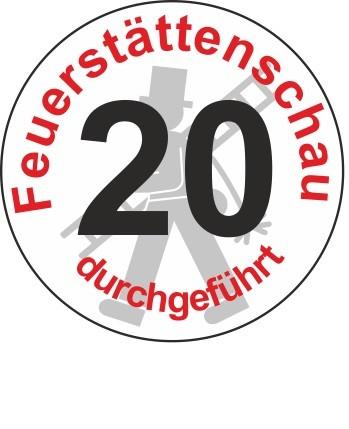 """Jahreszahl - Etiketten """"2020"""" """"Feuerstättenschau durchgeführt"""""""