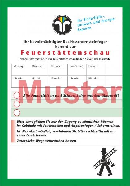"""Ansagezettel """"Feuerstättenschau"""" - DIN A6, ZIV-Logo, Rückseitendruck"""
