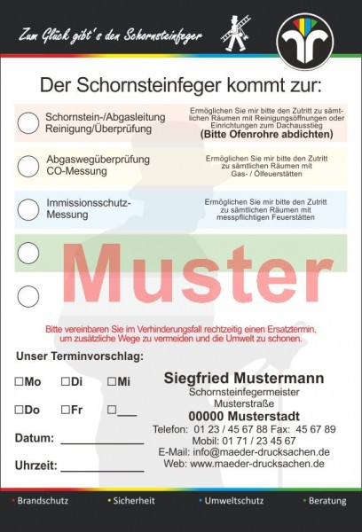 Ansagezettel, mit Klebestreifen, DIN A 6, 4-farbig, mit Firmeneindruck