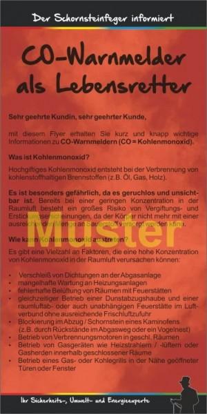 """Kompakt-Flyer """"CO-Warnmelder"""", ohne Firmeneindruck"""
