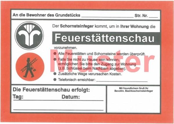 """Ansagezettel 2-farbig """"Feuerstättenschau"""" - DIN A5, ohne Firmeneindruck"""