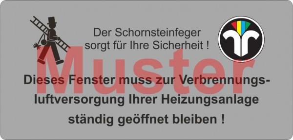 """Haftetiketten PET - """"Dieses Fenster ..."""" - ZIV Logo - """"Schornsteinfeger"""""""