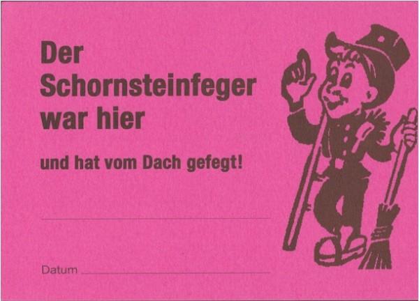 """Ansagezettel """"Der Schornsteinfeger war hier"""", DIN A 7"""