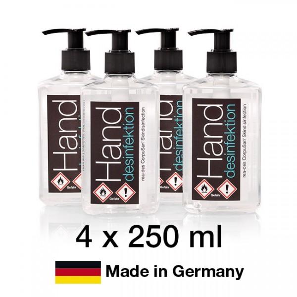Handdesinfektion (250ml) – 4er Pack – Made in Germany