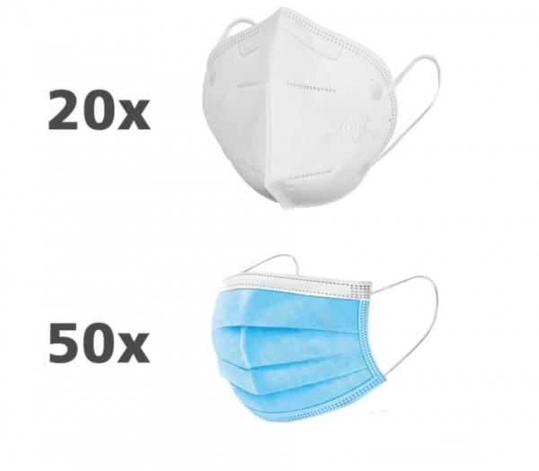 Atemschutzmaske FFP2 gefaltet - 20 Stück + 50 Mund- und Nasenmaske