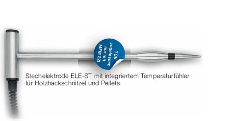 Stechelektrode für Pellets mit integriertem Temperaturfühler