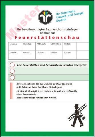 """Ansagezettel """"Feuerstättenschau"""", DIN A 5"""