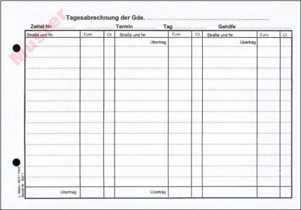 Tages-Abrechnungszettel DIN A 5 Querformat