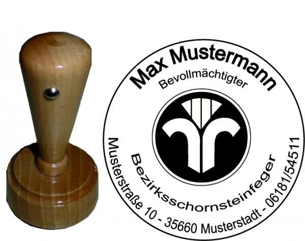 Holzstempel mit Wappen, rund
