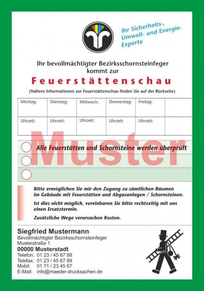 """Ansagezettel """"Feuerstättenschau"""" - DIN A5, ZIV-Logo, Rückseitendruck"""
