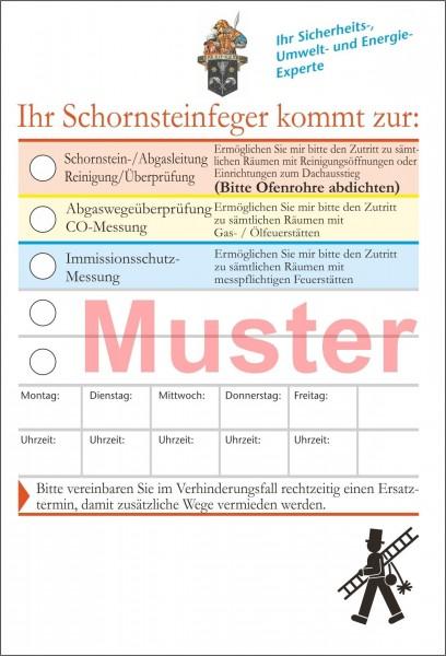 Ansagezettel mit Klebestreifen, DIN A 6, und farbigem St.-Florian-Emblem