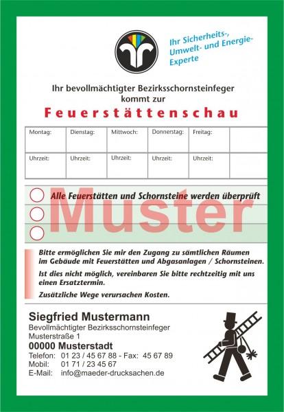 "Ansagezettel ""Feuerstättenschau"", DIN A 6,mit Firmeneindruck"