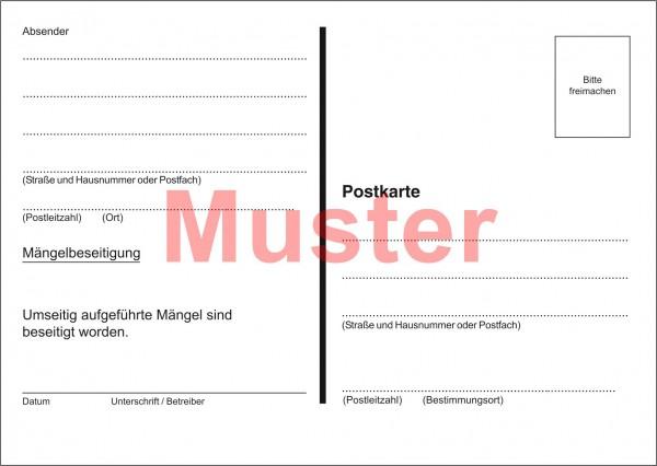 "Postkarten ""Überprüfung der Abgasabführung"""