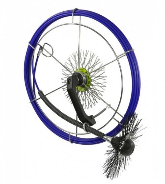 Einhandhaspel, blau, mit GFK-Stange 6,5mm, 15m lang